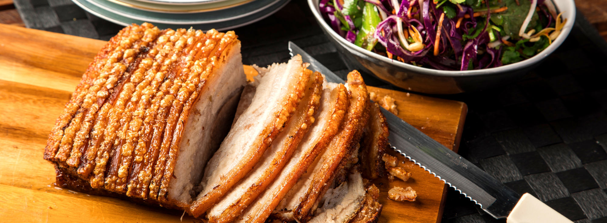 Crispy pork belly with Asian salad